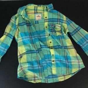 Blue and green plaid Hollister shirt